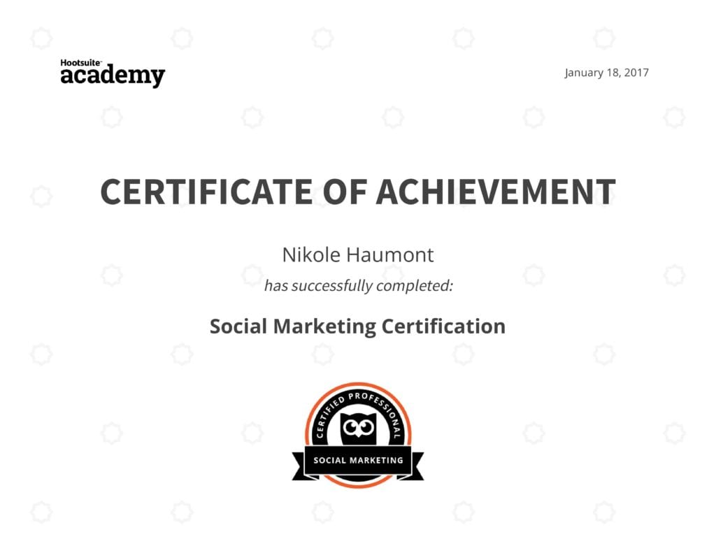 social marketing certification through hootsuite academy