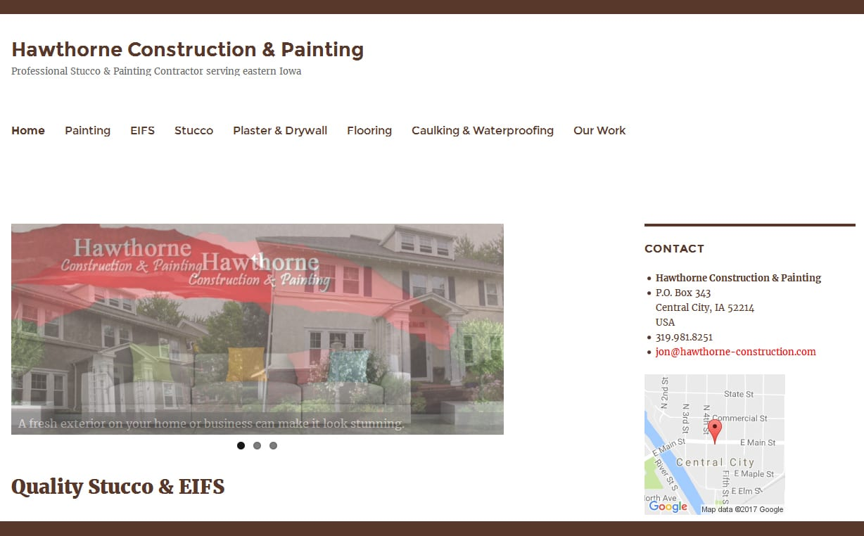 hawthorne construction website design