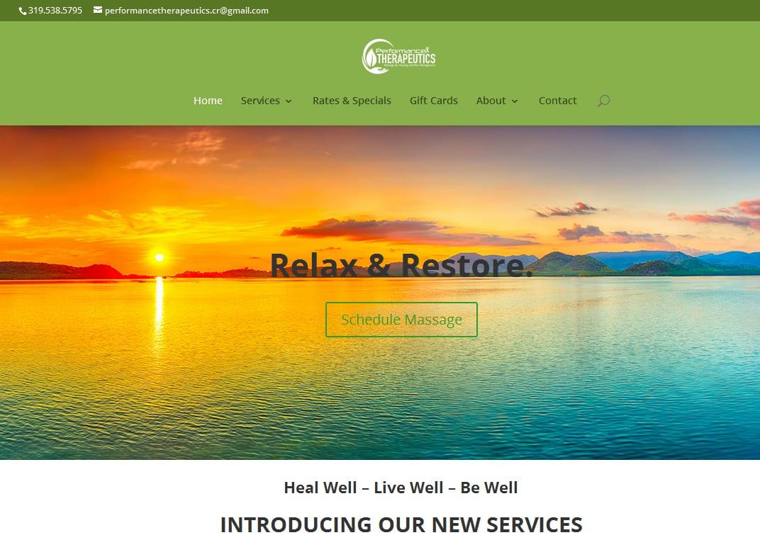 performance therapeutics website design