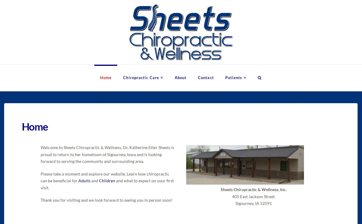 sheets chiropractic website design